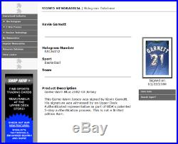 Kevin Garnett Uda Upper Deck Authenticated Game Used Jersey Coa Auto Autograph