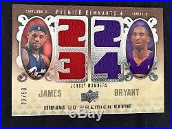 Kobe Bryant Lebron James Dual Jersey Game Used /50 The Ultimate Card