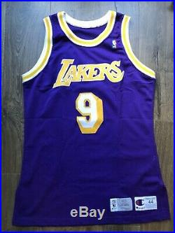 Lakers Nick Van Exel Rookie Game worn Photomatched Jersey Champion Used