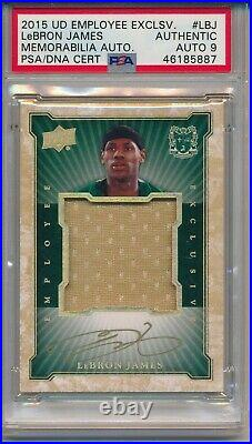 LeBron James GOLD INK PSA 9 AUTO Game Used Jersey Relic 2015 Upper Deck Emp. Exc