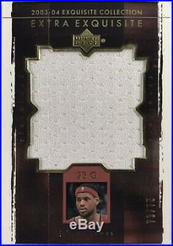 LeBron James Rookie 2003-04 UD Exquisite Extra Game Used Jersey /75 Very Rare
