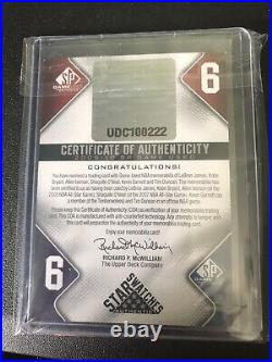 Lebron James Kobe Bryant AI Shaq KG Duncan 6 Pieace Game Used Jersey Relic /99