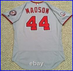 MADSON size 50 #44 2018 Washington Nationals game used jersey road gray with use