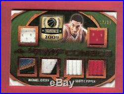MICHAEL JORDAN GAME USED JERSEY PATCH CARD SCOTTIE PIPPEN #d17/25'19 LEAF BULLS