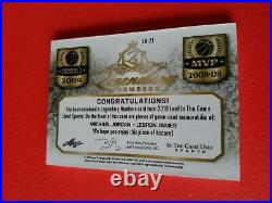 MICHAEL JORDAN & LEBRON JAMES GAME USED JERSEY CARD #d7/23 2019 LEAF In The Game