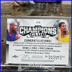 Magic Johnson & Shaquille Oneal Dual Auto Patch 1/1 LA Lakers game used jersey