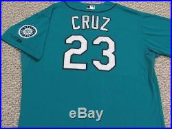 NELSON CRUZ sz 54 #23 2015 Seattle Mariners game used jersey alt teal MLB HOLO