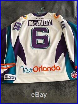 Orlando Solar Bears Game Used Jersey Size 56 McAvoy W All Star Patch Meigray COA