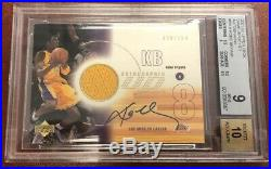 POP 6 BGS 9 Kobe Bryant 2001-02 Upper Deck Auto Game Used Jersey Lakers /100