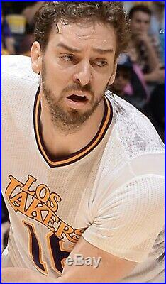 Pau Gasol Los Lakers 2013-14 Game Used Worn Noche Latina Home Jersey
