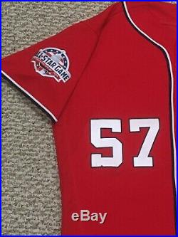 ROARK size 48 #57 2018 Washington Nationals GAME USED jersey ALT RED MLB HOLO