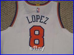 Robin Lopez #8 2015/16 New York Knicks GAME USED JERSEY white STEINER LOA HOLO