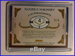 Rogers Hornsby 2016 Prime Cuts Timeline Game Used QUAD Jersey Bat Relic Card 5/5