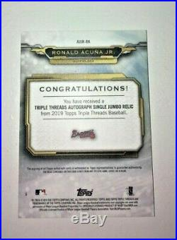 Ronald Acuna Jr. Auto Game-used Jersey Patch 97/99 2019 Topps Triple Threads Sp