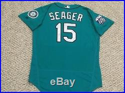 SEAGER #15 size 46 2017 Mariners game used jersey home teal 40TH patch MLB HOLO