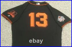 SMITH size 50 #13 2018 SAN FRANCISCO GIANTS GAME USED jersey home black ALT MLB
