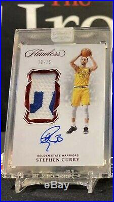 STEPH CURRY 2018/19 Flawless Vertical Patch Auto Ruby 13/15! GAME USED PATCH