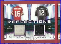 TOM BRADY & JOE MONTANA GAME USED JERSEY PATCH CARD #7/9 LEAF IN THE GAME 49ers