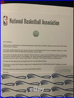 Tobbias Harris Game Worn Jersey Los Angeles Clippers Meigrey Coa Game Used Nba