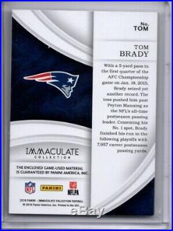 Tom Brady Game-used Jersey Patch /12 2016 Panini Immaculate Numbers Sp Patriots