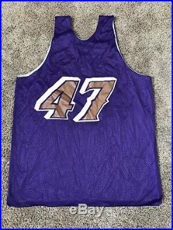 Utah Jazz Champion Game Used Worn Andrei Kirilenko Throwback Warm Up Jersey XXL