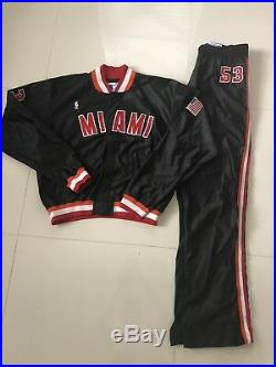 Vintage Auth Game Used NBA Miami Heat Champion Warm Up Jacket Jersey Pants 38/48