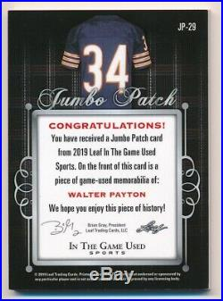 WALTER PAYTON 2019 LEAF ITG In The Game Used Jumbo Tag Jersey Relic /5 BEARS
