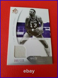 Wilt Chamberlain GAME USED WARM-UP CARD #d66/100 JERSEY #13 SP AUTHENTIC LAKERS
